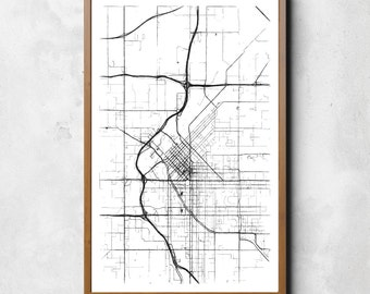 Map of Denver, Denver, Denver art, Denver map, Denver print, Denver decor, Denver gift, Denver art map, Denver poster, Wedding Gift, map art