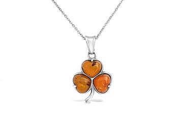 Shamrock Necklace Pendant - Shamrock Charm - Sterling Silver Clover Pendant in Amber - St Patricks Jewelry - Amber Necklace - Amber Pendant