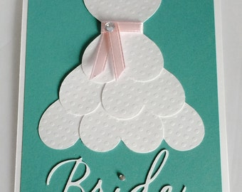 Bridal Shower Card- Wedding Dress Card-Bride to Be Card-Bridal Dress Card-Wedding Shower Card-Blank Bridal Shower Card-Bride