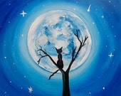 Night to Meow 20x16 canvas original painting signed cat art black cats full moon home decor wall decorations cat lady gifts collections art