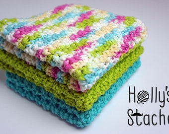 Hand Crocheted Spa Cloths - Set of 3