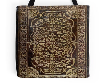 Gilded Leather Tome Book Cover Tote Bag, 3 Sizes Available