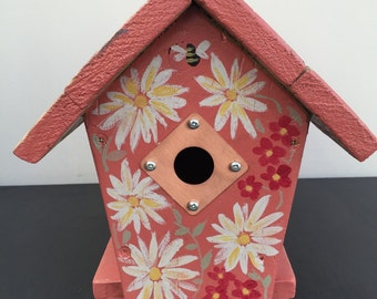 Reclaimed Handmade Painted Wooden Birdhouse