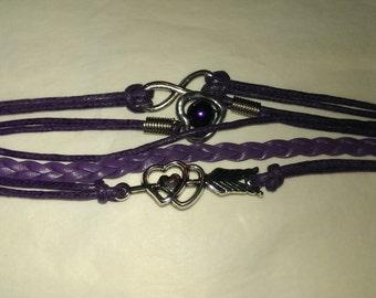 Double hearts purple bracelet