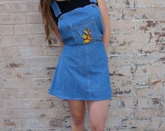 Vintage 90s Denim Mini Pinafore Dress Pooh Bear