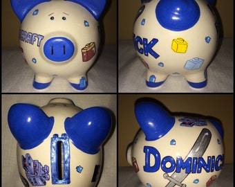 Minecraft Legos Inspired Theme Design Large Hand Painted Personalized Piggy Bank Boys Birthday Gift