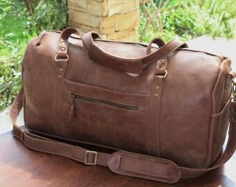 Leather duffle, handmade italian leather mens womens travel duffle, duffel, weekender bag, onernight bag, personalized bag, gym leather bag