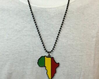 Africa-Shaped RASTAFARIAN Necklace
