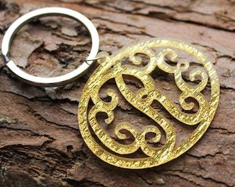 Gold monogram keychain,acrylic monogram keychain,glitter gold keychain for her Thanksgiving Gift,custom keychain,acrylic keychain