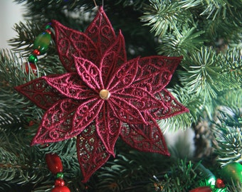 Poinsettia Ornament, Poinsettia FSL Ornament, Poinsettia Christmas Ornament