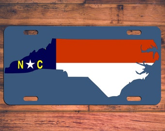 North Carolina License Plate North Carolina Car Tag Custom Designed NC Flag - The Old North State custom license plate - Choose your Color!