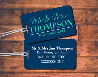 Personalized Luggage Tag Set - Mr & Mrs - Newlyweds Bag Wedding Gift Set of 2, 4, 6, or 8 Pack! Customize Personalize - Choose your Colors!