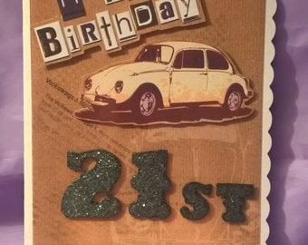 vintage beetle car 21 birthday card