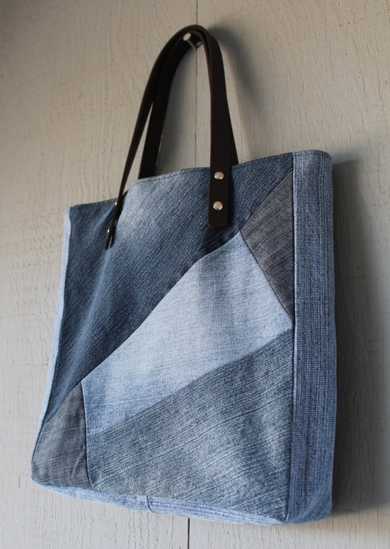 Denim Multi Patch Slouchy Tote with Leather Straps Two