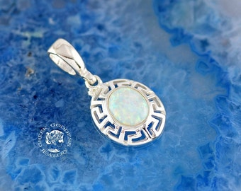 greek key opal pendant, white opal pendant, greek key pendant, greek pendant, greek jewelry, opal pendant, white opal, goddess pendant