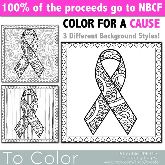 breast cancer coloring pages - items similar to breast cancer awareness ribbon coloring