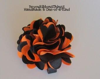 Big Satin Puff Flower | Orange & Black | Hair Clips for Girls | Toddler Barrette | Kids Hair Accessories | No Slip Grip | Halloween