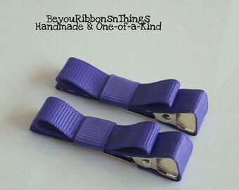 Purple Hair Clips for Girls Toddler Barrette Kids Hair Accessories Grosgrain Ribbon No Slip Grip