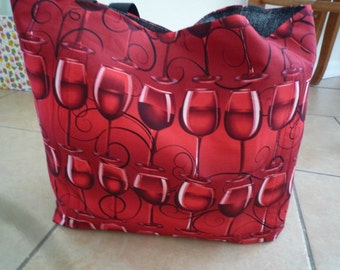 Red Wine, Glasses Reusable Farmers Market / Grocery / Shopping Bag / Tote