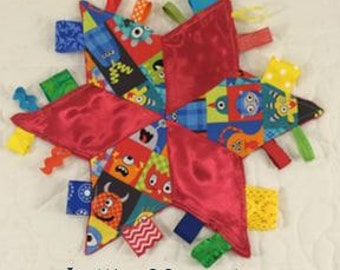 Red Little Monsters Star Taggie Sensory Baby Toy, with Colorful Ribbons and Optional Crinkle Liner