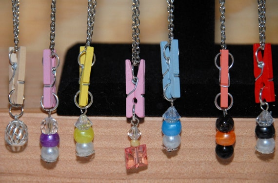Clothespin Necklace. Klippets Kustomizable Jewelry. Cute and Customizable. Wear a Different Klip or Charm/Charms Every Day. Kids Love These!
