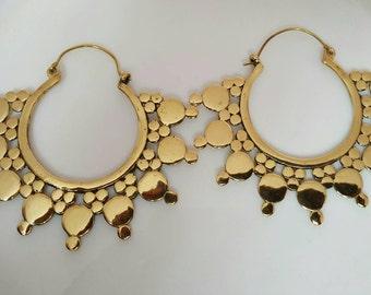 Tribal Brass Earrings, Hoop Earrings, Tribal Jewellery, Indian Brass Earrings, Belly Dance Jewelry, Ethnic Earrings, Bohemian Jewellery