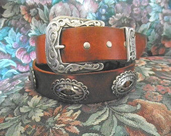 Concho Belt * Handmade * Vintage Buckle Set * Custom Size & Color