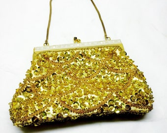 vintage Delill sequin beaded gold hand bag