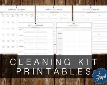 CLEANING KIT PRINTABLES - 5 Page Kit - Instant Download!