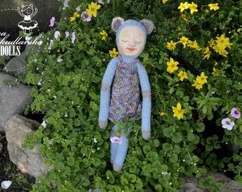 Koteczka - handmade doll- textile doll- fabric doll- rag doll- home decoration- handmade toy