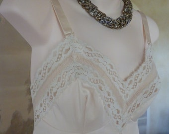 Vintage 60s  Ivory Silky Nylon and Lace Komar Full Slip, Petticoat, Size 8-10 (162)