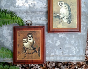 Pair of 1970's Owl Plaques/Wooden Plaques/Retro Owls