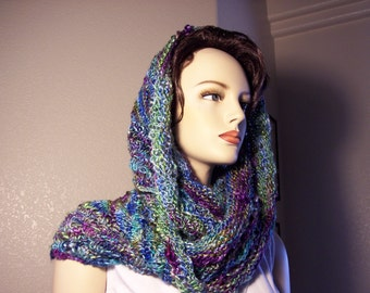 "Cowl hand knitted in jewel tones 48"" long"