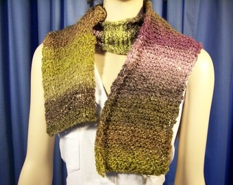 Soft purples and green hand knitted scarf