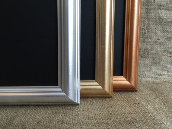 Metallic Framed CHALK BOARD - Gold / Silver/ Copper / Rose Gold Blackboard - Framed Notice Board / Metallic Framed Message Board /