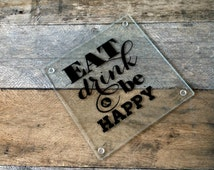 Eat Drink and Be Happy Glass Cutting Board, Customized Glass Cutting Board, Gift for Couples, Cheese Board