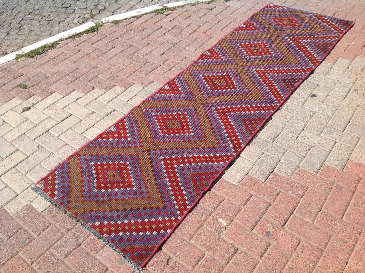 Aztec Runner Rug 108 X 32 Vintage Turkish Kilim