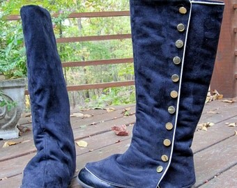 boot spats black suede cloth