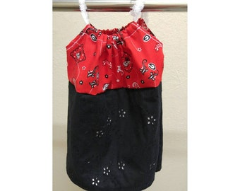 Girls red, black and white paisley UGA dress