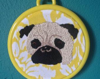Pug, Embroidery, Wall Art, Hoop Art, Floral, Dog, Gift