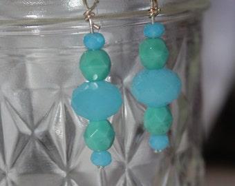 Blue Mint Glass Earrings
