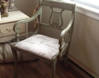 Pair Lyre Back Arm Chairs