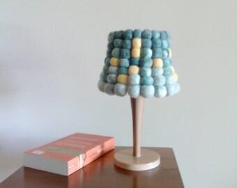 SALE - 50% OFF - Lamp, Felt Balls Lampshade, Wooden Lamp, Table Lamp, Night Light, Nursery Decor, Boho Decor, Hippie Decor, Home Decor