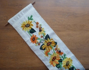 Vintage Crewel Yellow and Orange Flowered Wall Hanging