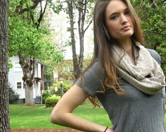 Tan floral print extra long infinity scarf