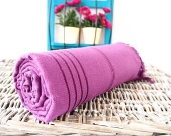 Deep Purple Turkish Towel,Purple Peshtemal,Purple Beach Towel,Turkish Bath Towel,Natural Towel,Bridesmaid Gift,Wedding Gift,Fouta