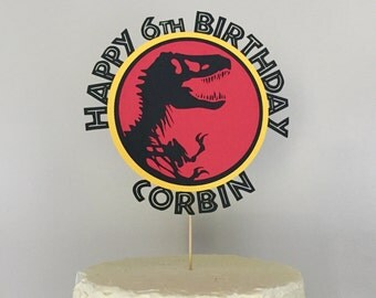 Jurassic Dinosaur Happy Birthday Caketopper Customized with Name