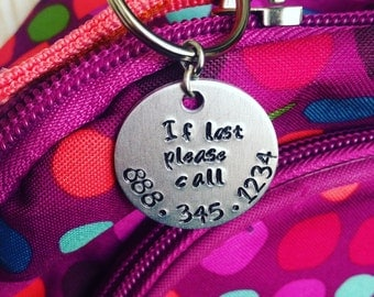 Book bag lost, Safety key chain, Hand stamped phone number, Child safety, If lost please call, Zipper pull, Belt loop, luggage tag