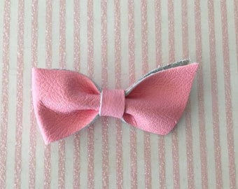 Baby Pink Leather Bow