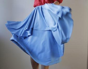 Real Vintage Blue Midi Skirt with frills Hand Sewn